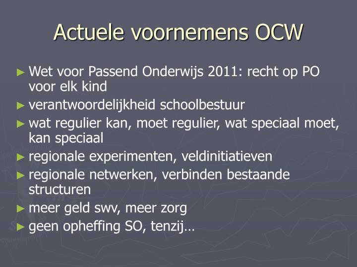 Actuele voornemens OCW