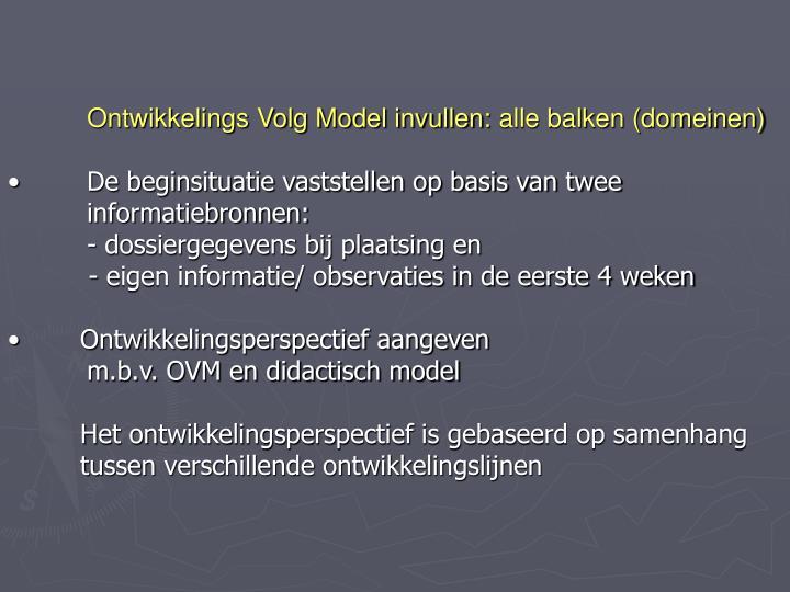 Ontwikkelings Volg Model invullen:alle balken (domeinen)