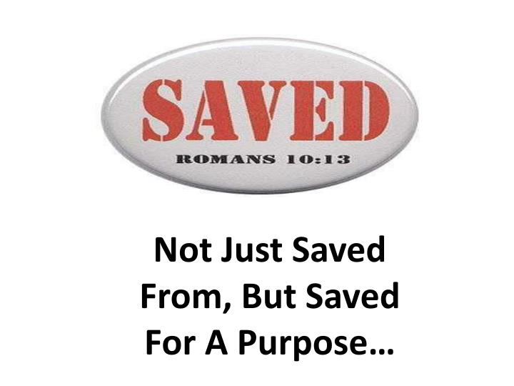 Not Just Saved From, But Saved For A Purpose…