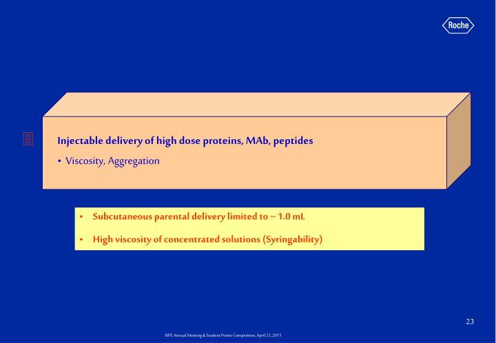 Injectable delivery of high dose proteins, MAb, peptides
