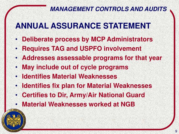 ANNUAL ASSURANCE STATEMENT