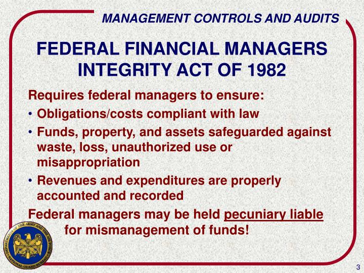 Federal financial managers integrity act of 1982