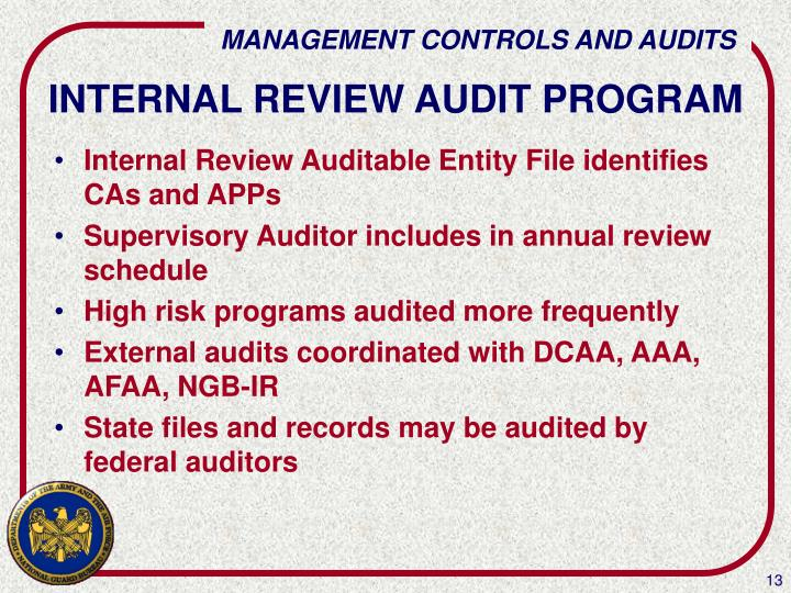 INTERNAL REVIEW AUDIT PROGRAM