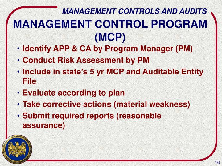 MANAGEMENT CONTROL PROGRAM (MCP)