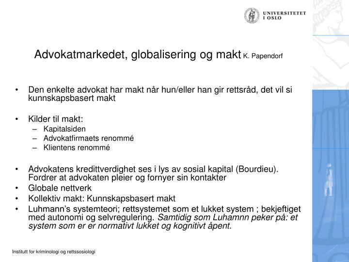 Advokatmarkedet, globalisering og makt