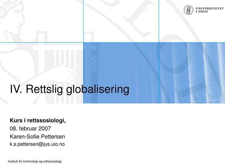 iv rettslig globalisering