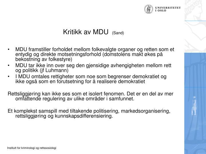 Kritikk av MDU