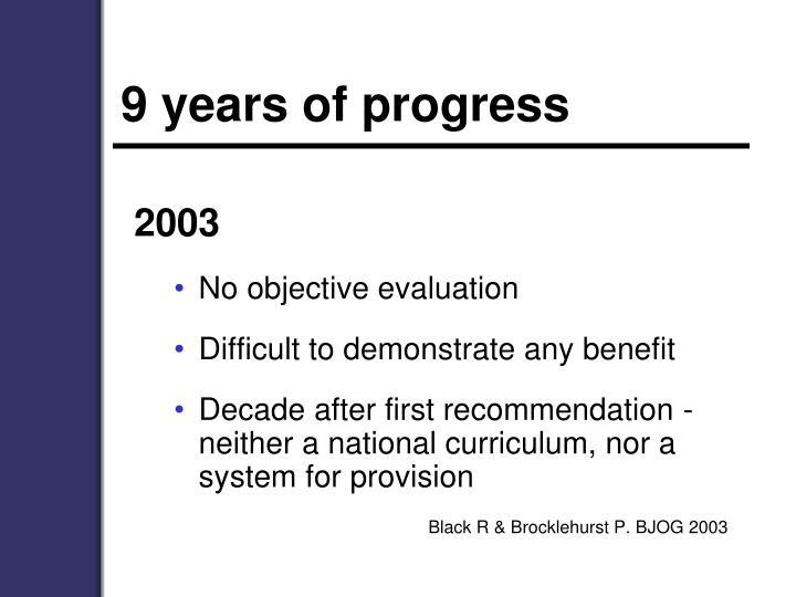 9 years of progress