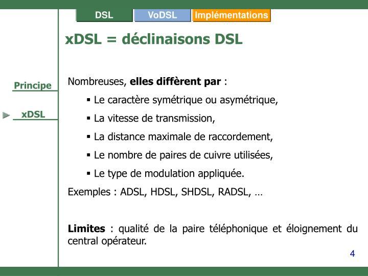 xDSL = déclinaisons DSL