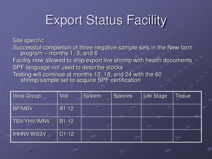 Export Status Facility