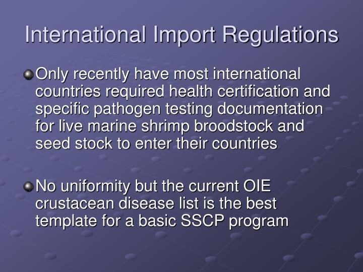 International Import Regulations