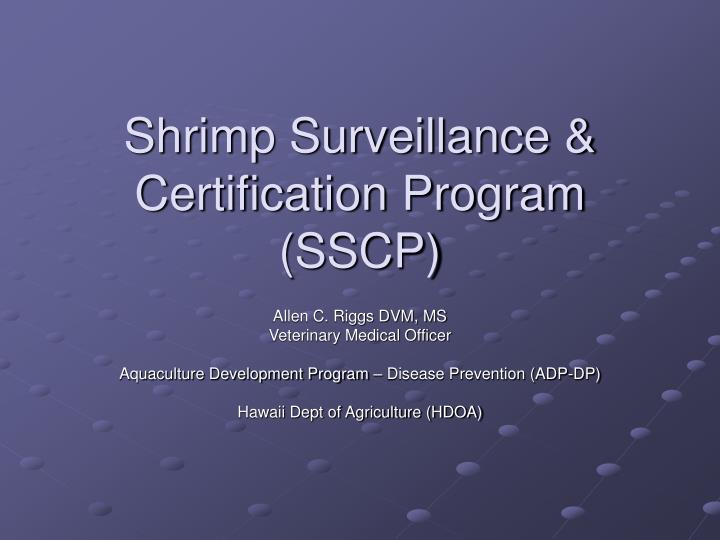 Shrimp surveillance certification program sscp