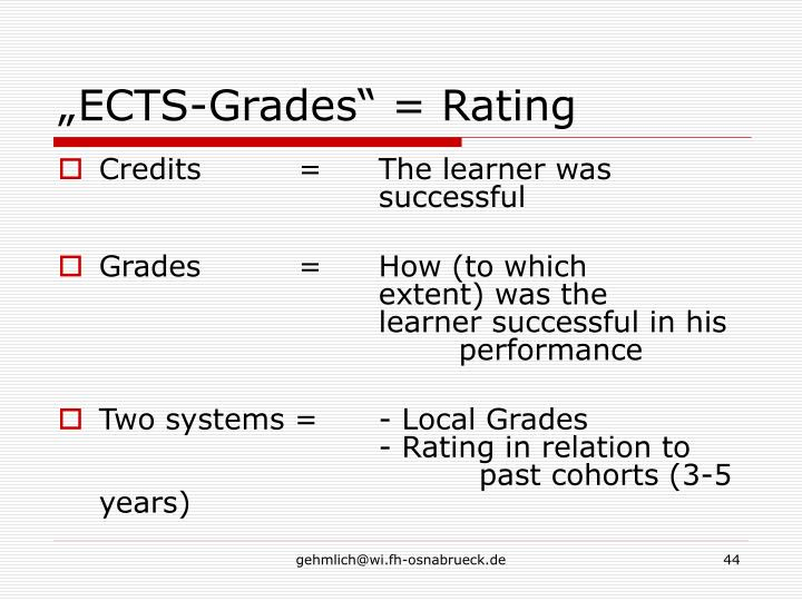 """""""ECTS-Grades"""" = Rating"""