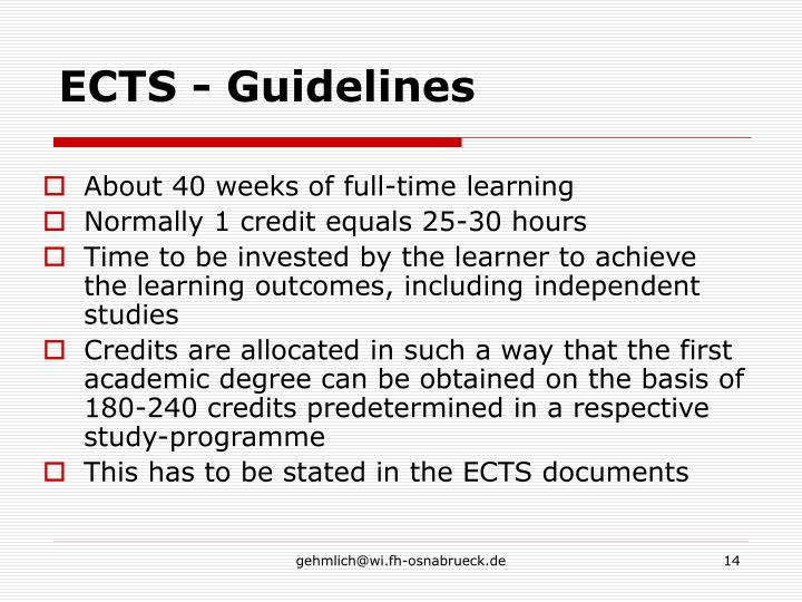 ECTS - Guidelines