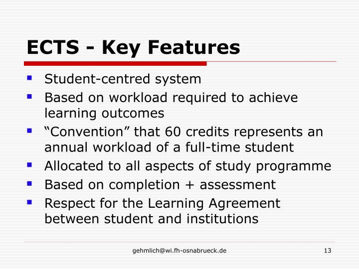 ECTS - Key Features