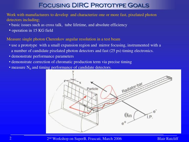 Focusing DIRC Prototype Goals
