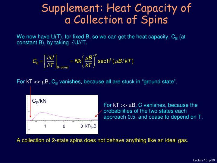 We now have U(T), for fixed B, so we can get the heat capacity, C