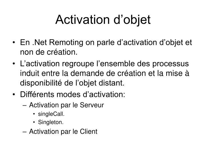 Activation d'objet