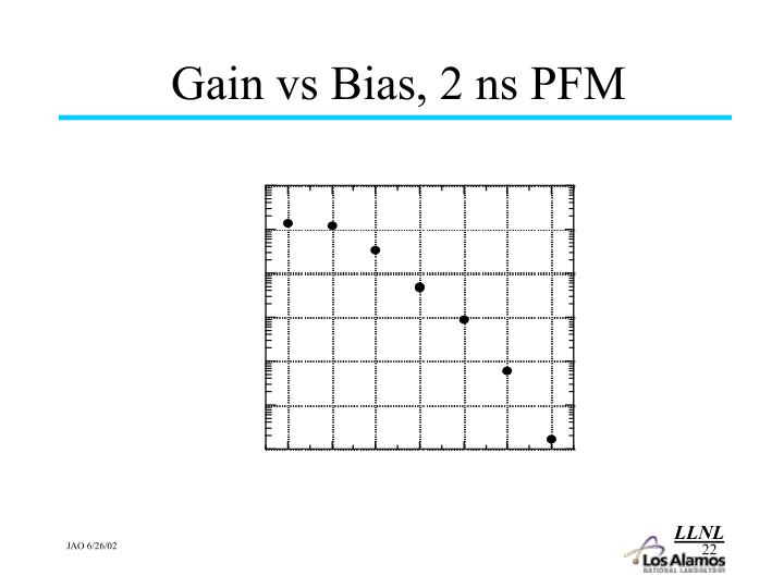Gain vs Bias, 2 ns PFM