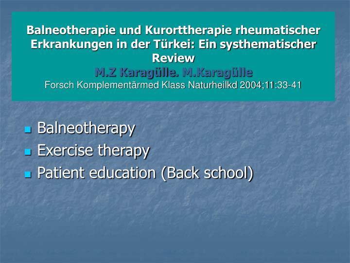 Balneotherapie und Kurorttherapie rheumatischer