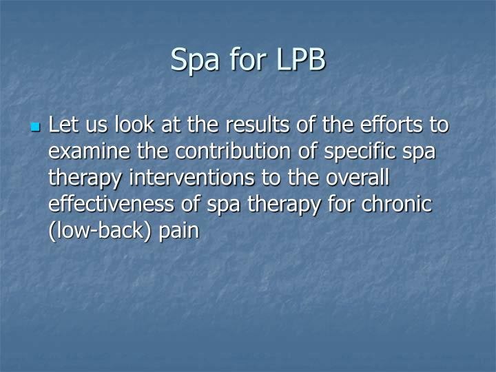 Spa for LPB