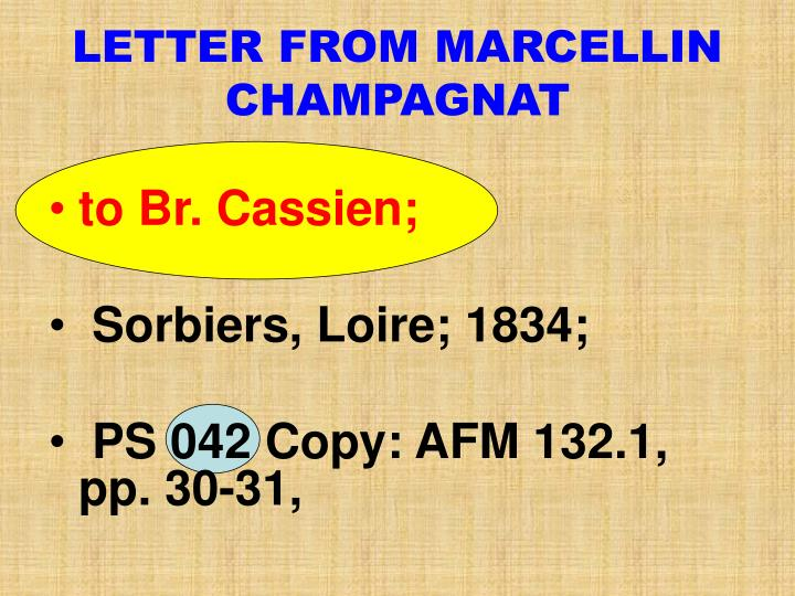LETTER FROM MARCELLIN CHAMPAGNAT
