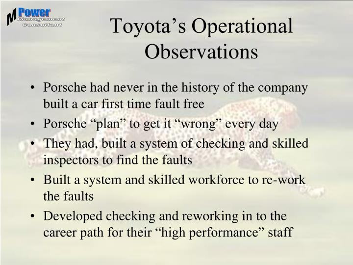 Toyota's Operational Observations