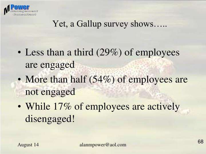 Yet, a Gallup survey shows…..