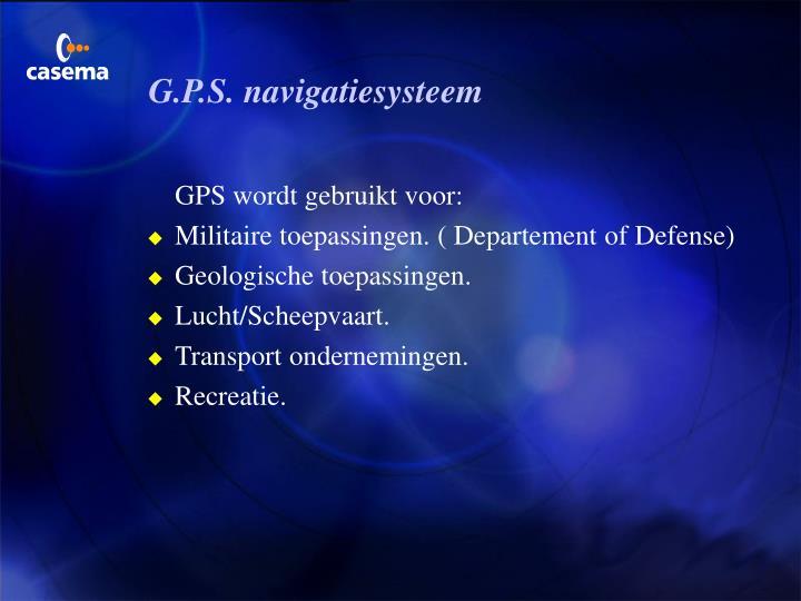 G.P.S. navigatiesysteem