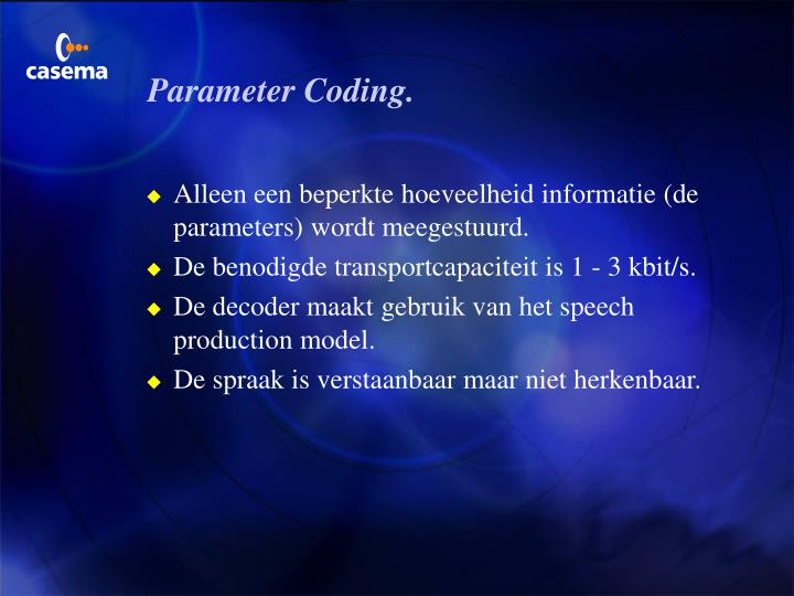 Parameter Coding.