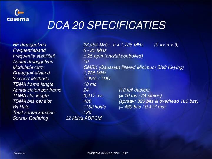 DCA 20 SPECIFICATIES