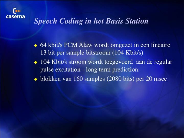 Speech Coding in het Basis Station