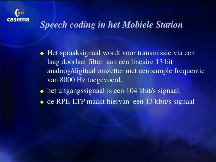 Speech coding in het Mobiele Station