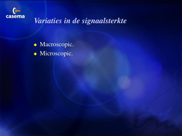 Variaties in de signaalsterkte