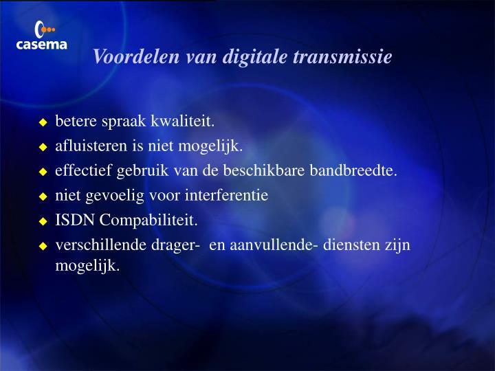 Voordelen van digitale transmissie
