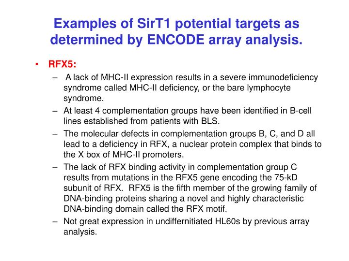 Examples of SirT1 potential targets as determined by ENCODE array analysis.