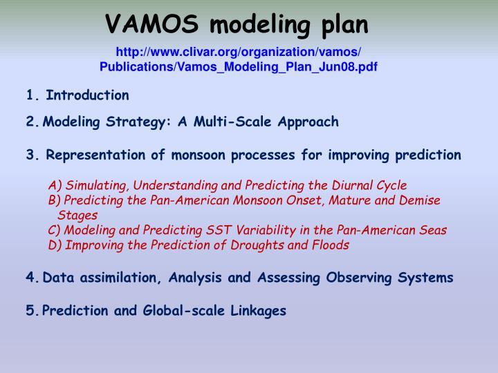 VAMOS modeling plan
