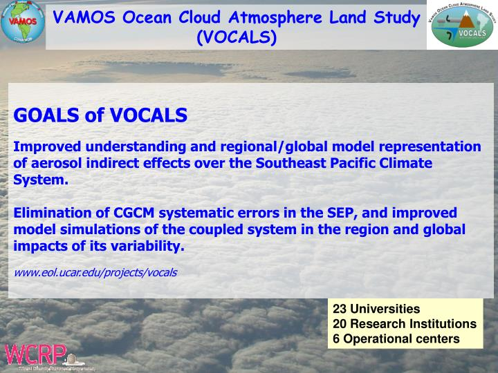 VAMOS Ocean Cloud Atmosphere Land Study