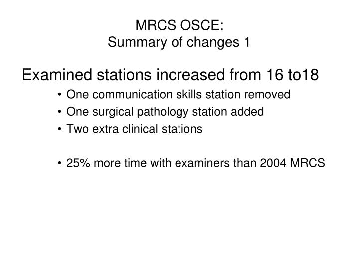 MRCS OSCE: