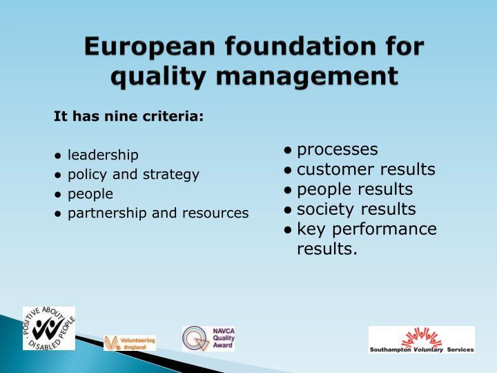 European foundation for quality management