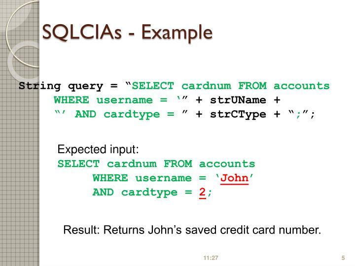 SQLCIAs - Example