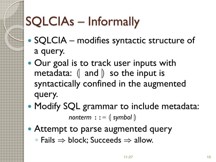 SQLCIAs – Informally