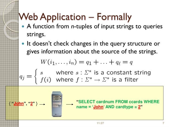 Web Application – Formally