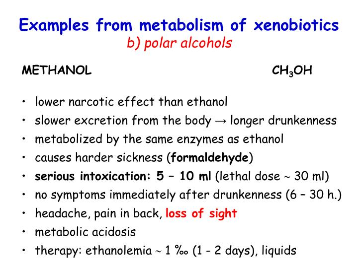 Examples from metabolism of xenobiotics