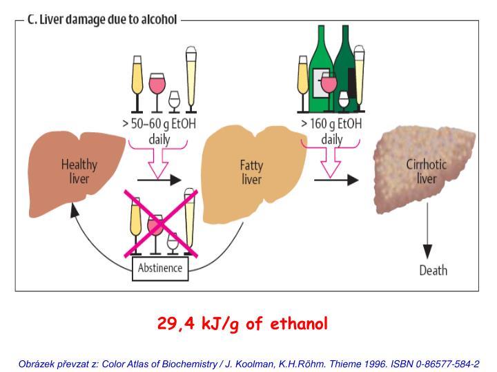 29,4 kJ/g of ethanol