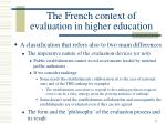 the french context of evaluation in higher education
