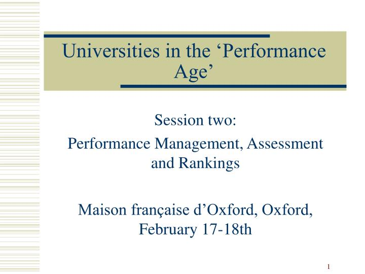 universities in the performance age