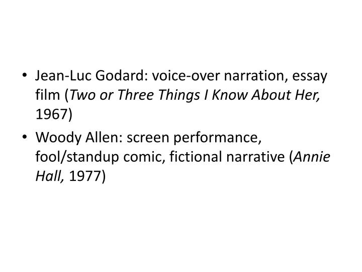 Jean-Luc Godard: voice-over narration, essay film (