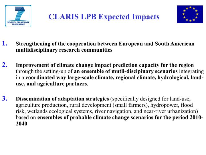 CLARIS LPB Expected Impacts