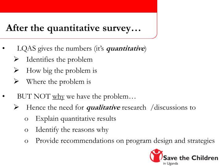 After the quantitative survey…